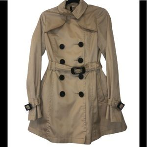 H&M divided tan trench coat jacket size 6